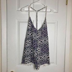 Kendall & Kylie Purple Floral Print Playsuit